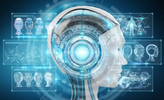 Digital artificial intelligence cyborg interface isolated on blue background 3D rendering